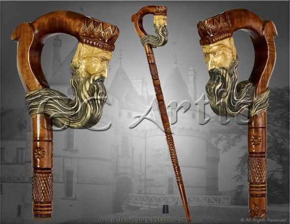"The ""KING"" HAND CARVED walking stick cane staff wood crafted handle and shaft authors made in Ukraine"