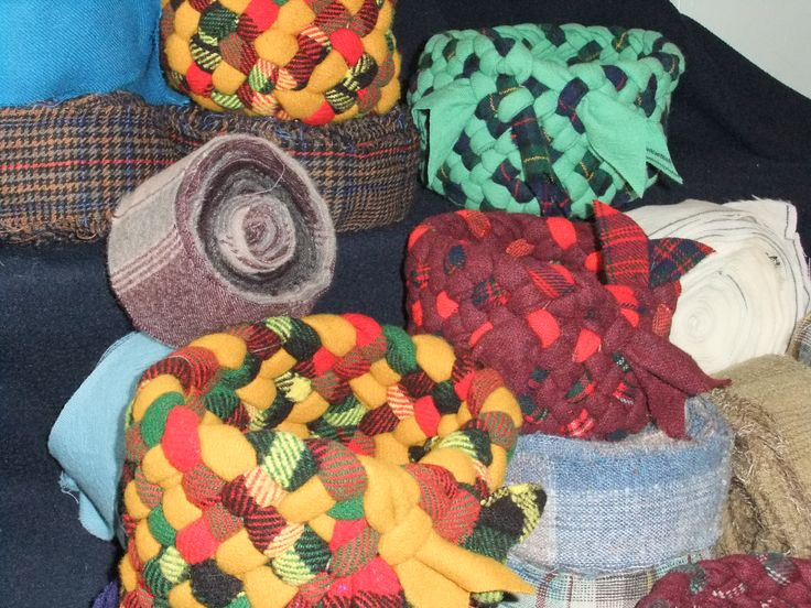 hand braided baskets by Val Galvin, Renditions in Rags, using recycled /reclaimed wool fabrics.