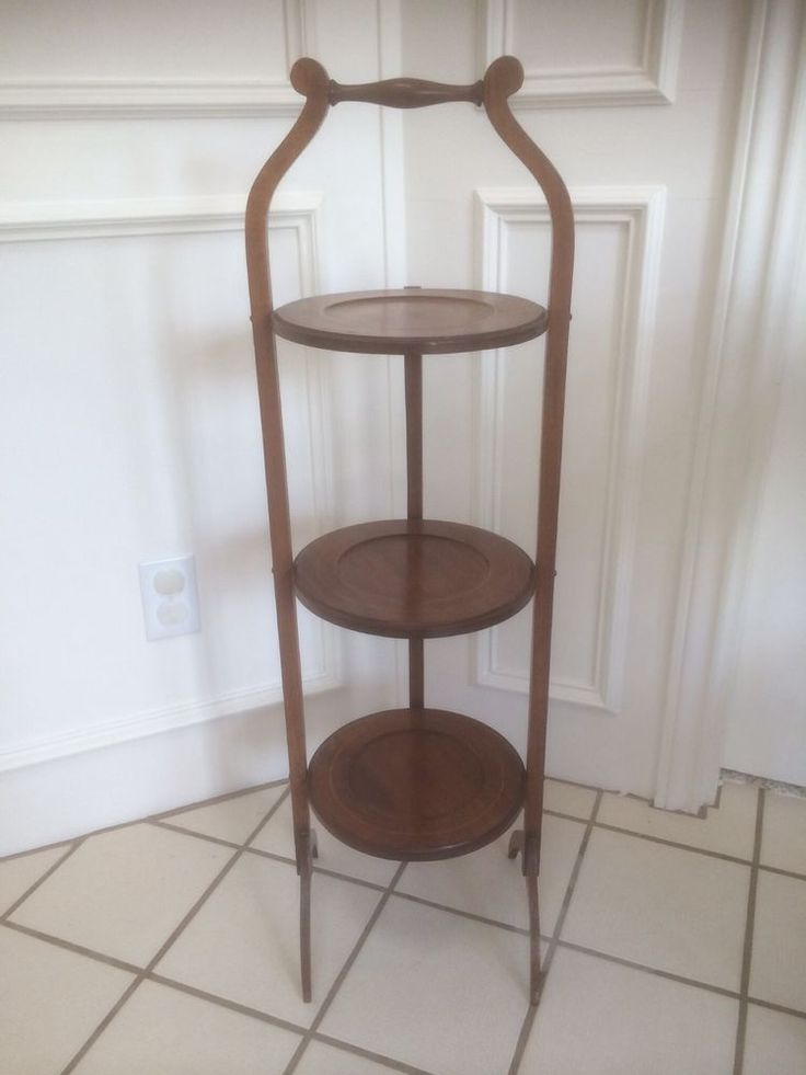 Rare Antique Vintage Mahogany 3 Tier Pie Cake Dessert