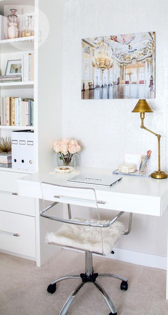 Chic Workspace, study, office: white built in desk, gold, silver and pink accents