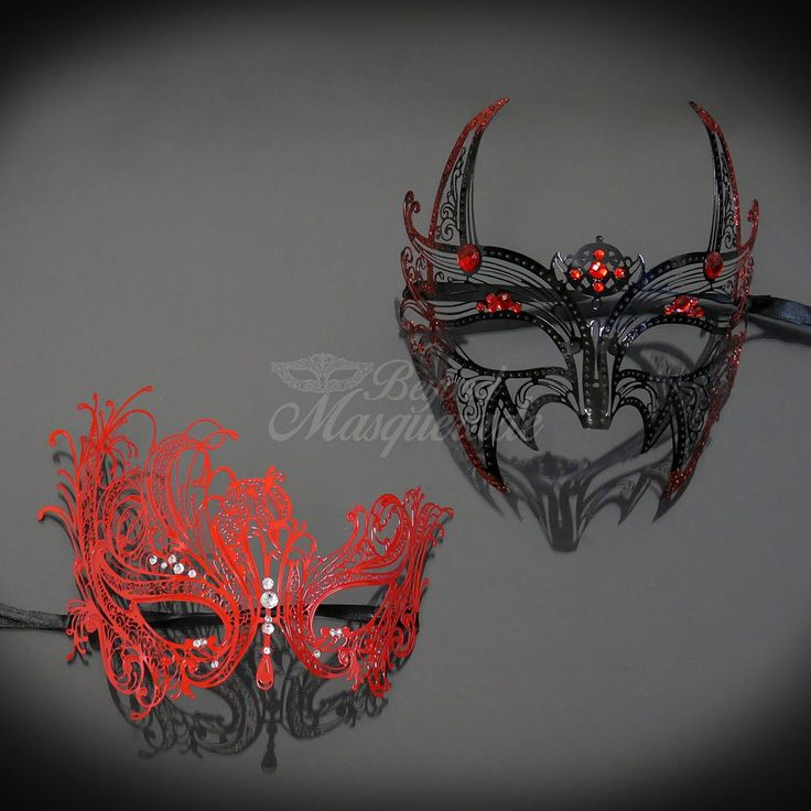 Couples Masquerade Mask, His & Hers Set, Red Masquerade Couple M7155, M7139 #BeyondMasqueradecom #Venetian #MasqueradeEvents