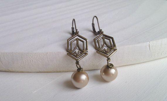 Art Deco Earrings, 1920s Earrings, Art Deco Pearl Earrings, Gifts for Girls, British Seller UK, Vintage Inspired Earrings, Pearl Earrings