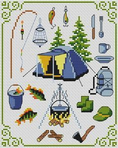 free camping cross stitch patterns - Google Search
