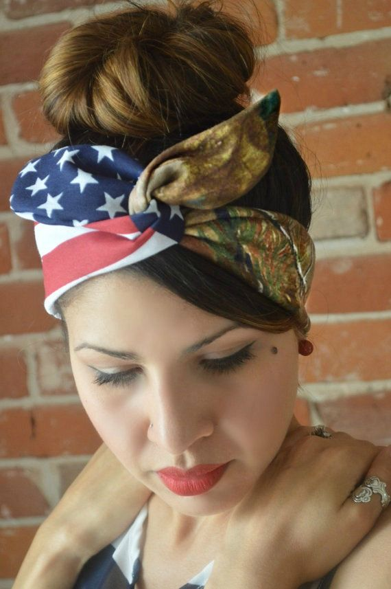 Realtree Camo American Dolly bowPatriotic Flag head by JLeeJewels