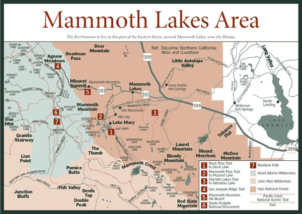Mammoth Lakes Map Summer Vacation Pinterest Area Map