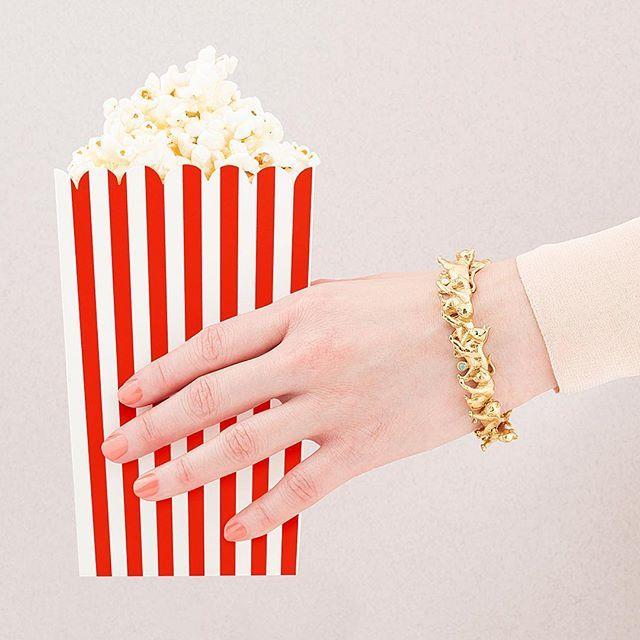 ✨🍿:: Hello Weekend :: 🍿✨  .  .  .  #BillSkinner #popcorn #popcorntime #fridayfunday #kittens #asos #asseenonme #fashionphotography #fashionlovers #retrostyle #jewellerylovers #design #lookbook #ss17 #ss17collection #catsofinstagram #kittenbracelet