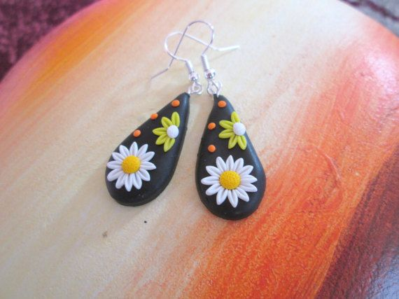 white polymer clay earrings polymer clay spring fashion style gift for her birthday  by FloralFantasyDreams