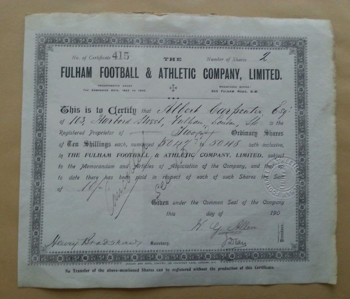 47 best Shares and Bonds of the football clubs images on Pinterest - blank share certificates