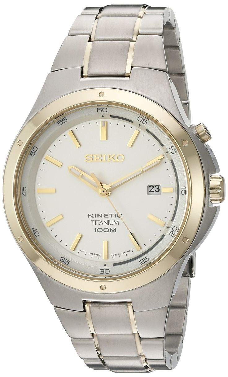 Seiko Men's 'Kinetic' Quartz Titanium Dress Watch, Color:Two Tone (Model: SKA730). Powered by movement of your body. 6 month power reserve - Power reserve indicator function. Japanese-quartz Movement. Case Diameter: 43mm. Water Resistant To 330 Feet.