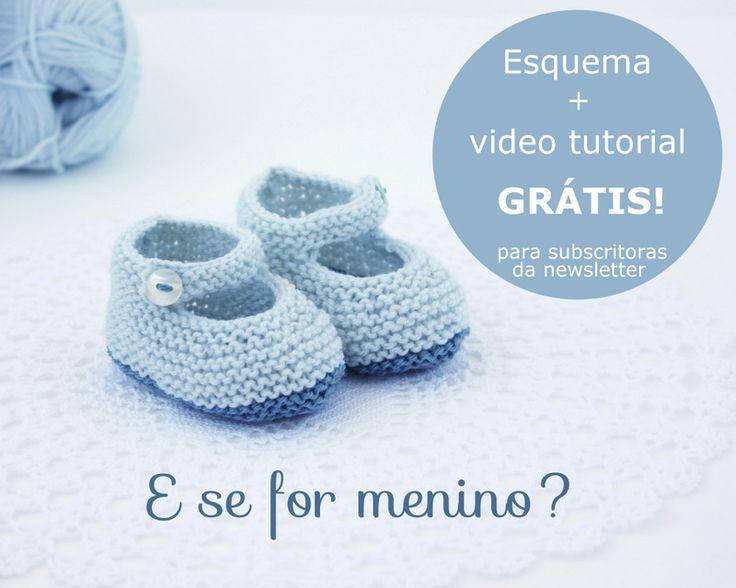 Esquema + video tutorial para tricotar estes simpáticos sapatinhos de bébé. GRÁTIS para subscritoras da minha newsletter - http://nionoi.blogspot.pt/