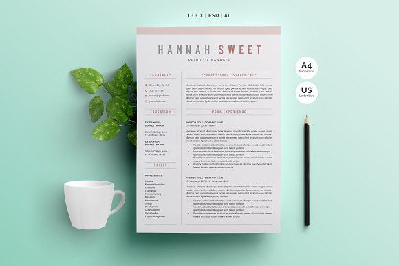 Word Resume Template by Whitegraphic on @creativemarket
