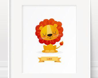 Lion afdrukken, dier kwekerij van Safari, Safari dieren, Jungle dieren print, baby kamer kunst, dier print, childrens illustratie, kinderen kamer kunst