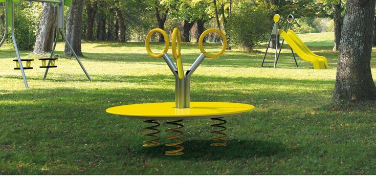 JOY #j207 #playgrounds Design #StudioKuadra I #playspringer in stainless steel, HDPE platform and coloured aluminum grab ring. Available in the following materials and sizes: Galvanized and Powder Coated Steel + Powder Coated Aluminum + Stainless Steel + High Density Polyethylene Fixings: Pre-drilled for bolts, below ground installation #JOY