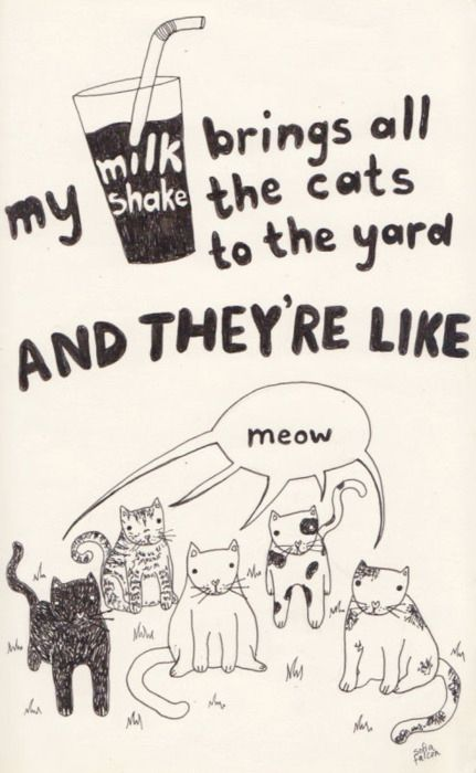 "Kelis - ""Milkshake"" ..... 17 Classic Song Lyrics Significantly Improved By Cats"