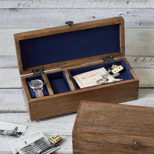 Walnut Veneer Rustic Wood Watch Box.