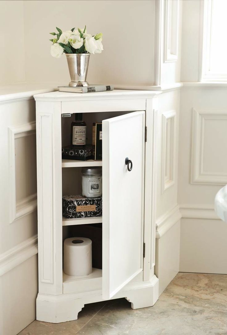 Corner cabinet. Something a little slimmer might look less awkward, but a great use of the corner space.