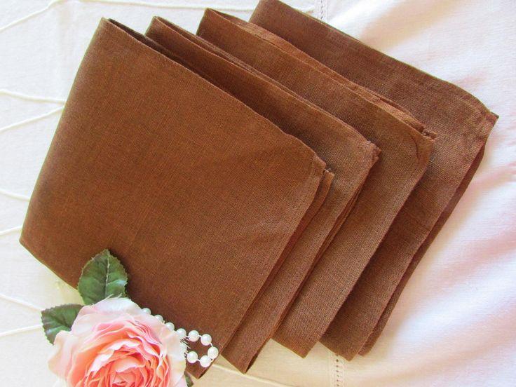 Vintage Brown Linen Napkins - Linen Napkins - Four Dinner Napkins - Luncheon Napkins - High Tea - Vintage Wedding Napkins by MomsGiftShoppe on Etsy