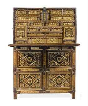 A spanish iron mounted parcel gilt bone inlaid walnut for Spanish baroque furniture