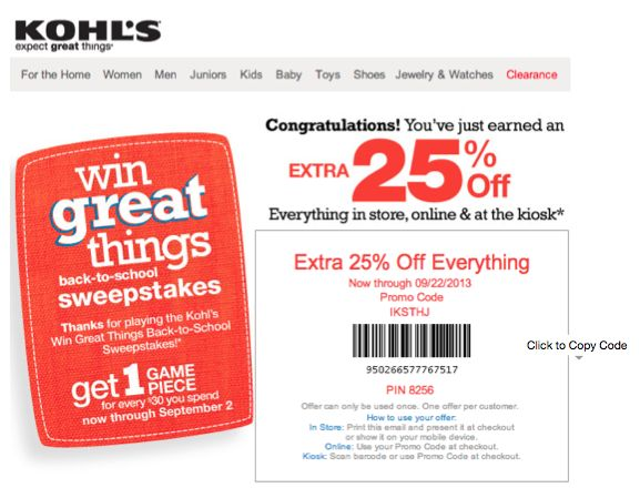 Kohls september 30 coupon code