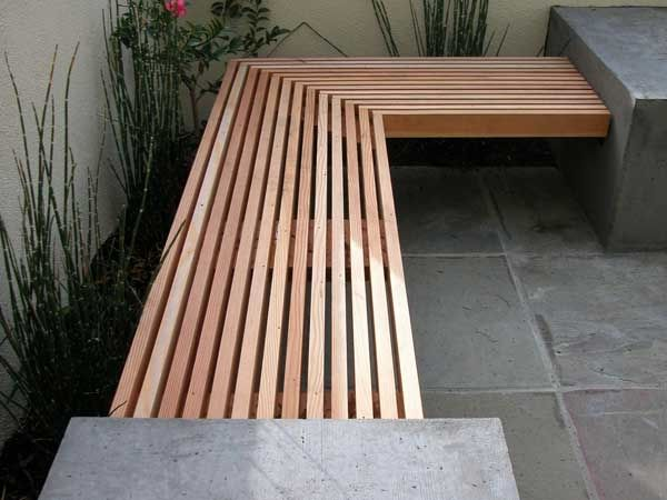 Bench/seating area in corner of garden