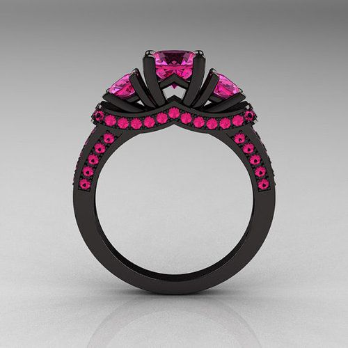 rings pink and black | Black and pink wedding rings Etsy Line Up - Diamond Forever Jewelry