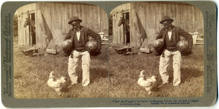 "stereoview from Prison Culture coll.| On Watermelons and Black Criminality… the association of black people and watermelons became a popular representation at the turn of the 20th century among white people; the purpose of these watermelon images was to dehumanize black people and to represent them as contented, lazy, ""coons."""