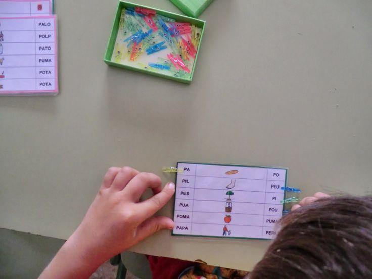 La Caseta, un lloc especial: Joc de lectoescriptura amb pinces (autocorrectiu)