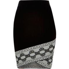 River Island Black knitted patterned hem pencil skirt (91 AUD) ❤ liked on Polyvore featuring skirts, black, mini skirts, women, black knee length skirt, black skirt, fitted skirts, wrap skirt and patterned pencil skirt