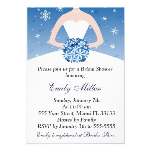 Snowflake Winter Bridal Shower Invitation Wedding