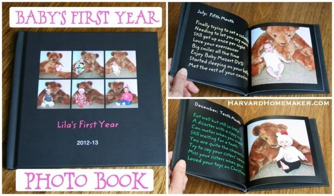 Will do this for Griffin when his month-by-months pics are done!  If you don't think you have it in you to keep up with a traditional baby book, check out the post below.  Making a simple book like this could be a great option for you--and this makes for a very special first birthday gift for your child, too!