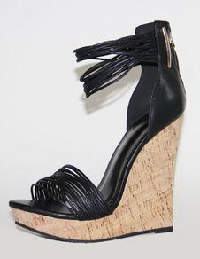 28db3968544 Women Platform Heels Black Wedge Sandals Open Toe Ankle Strap Sandal Shoes