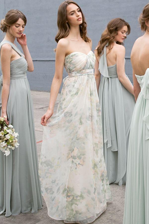 Watercolor Blush Floral Bridesmaid Dresses Sage Green