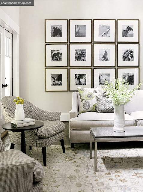 photos, square frames for travel photos: Decor Ideas, Living Rooms, Black And White, Interiors, Galleries Wall, Photo Wall, Rooms Ideas, Modern House, Pictures Frames