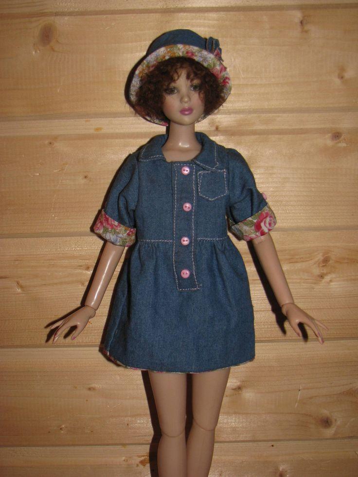 "BJD Clothes msd Denim shirt dress  for  women Tonner 16""/MiniFee by NatZayShop on Etsy"