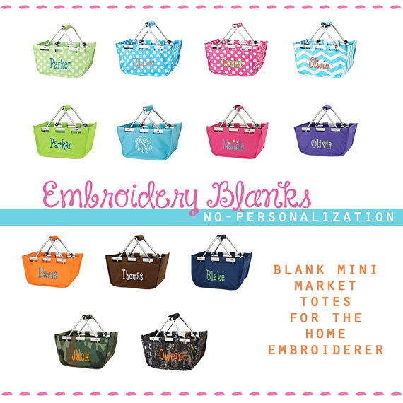 Colors embroidery blank modern easter basket by