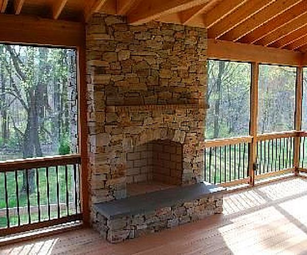 Screen Porch With Outdoor Fireplace Chester Screened Porch Ideas From