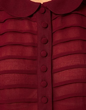 ASOS Blouse With Pintucks, covered tin buttons And Peter Pan Collar in a beautiful wine color