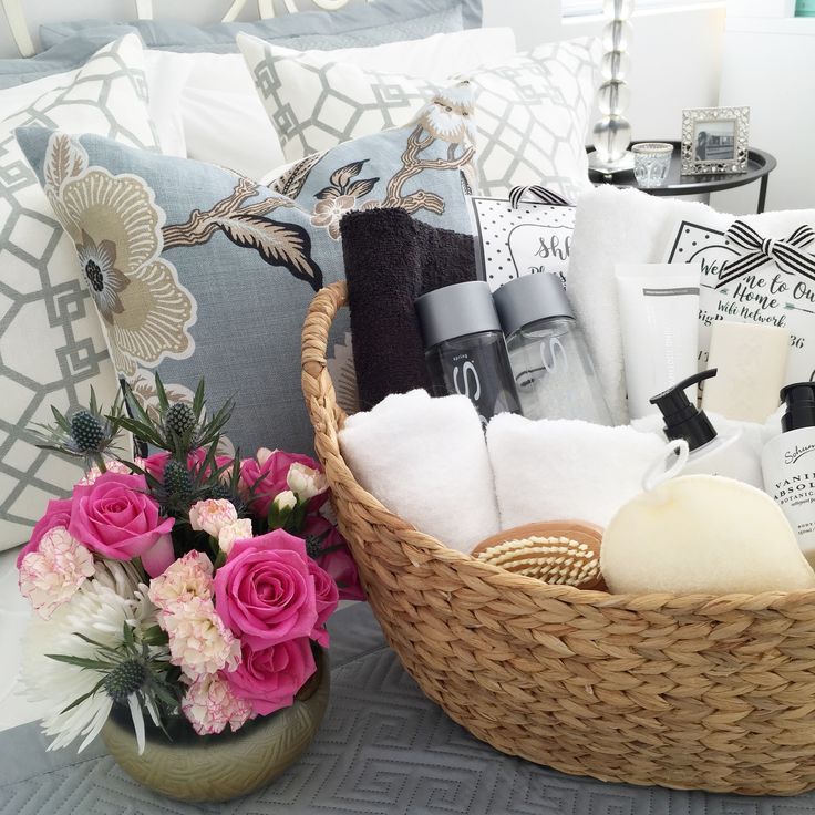 Making your guests feel welcome by making up a basket filled with toiletries towels candles soaps and lotions. Add welcome note with Wifi details etc! Fresh flowers always give a little special touch, create a hotel feel in you home.