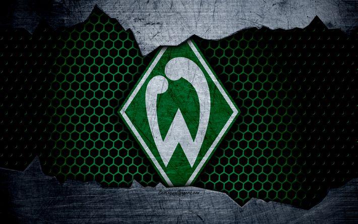 Lataa kuva Werder Bremen, 4k, logo, Bundesliiga, metalli rakenne, jalkapallo, FC Werder Bremen