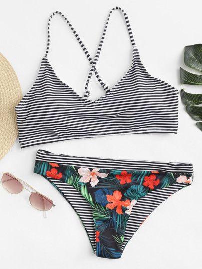 d0b6ce61bd Flower Print Striped Bikini Set -SheIn(Sheinside) | Swimwear in 2019 ...