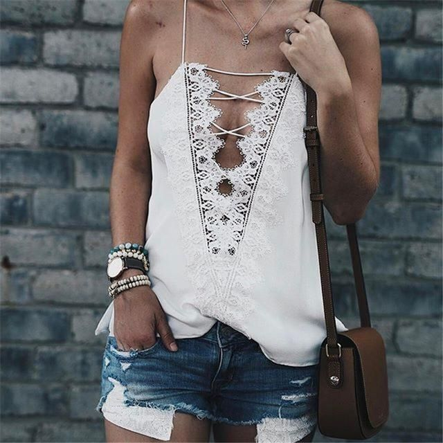 Camila V Neck Camisoles Spaghetti Strap Lace Patchwork Hollow Back Top #cuteoutfits