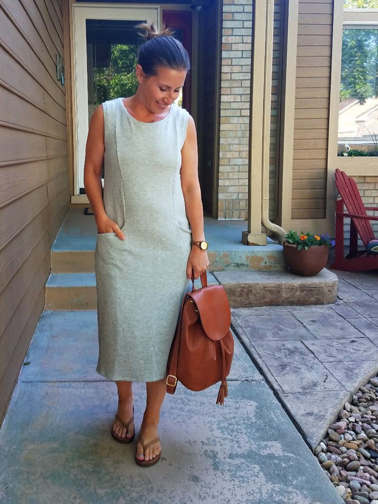 Summer Style Challenge 30x30: Outfit #8: grey pocket midi dress+camel flip-flops+cognac backpack purse+gold necklace - Style This Life. Summer Capsule Wardrobe 2017
