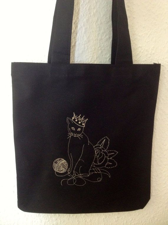 Cat Embroidery Tote bag by BonitoFracaso on Etsy #cat #embroidery #tote bag #black