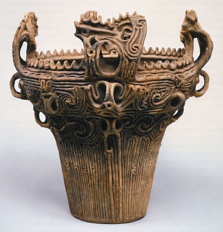 Fukabachi Jar- This deep jar is from the Middle Jomon period (2600-1500 B.C.E.). It was used for cooking. Since this jar was from the Middle Jomon Period, it is a prime example of the densely decorated, rope-patterned style of the period. It also has a flame-like style, a characteristic present in many other Jomon pots.