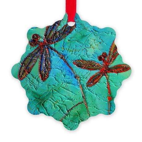 Dragonfly Dance snowflake ornament...something a little different!  #Christmas #Xmas #ornament #decoration #dragonfly