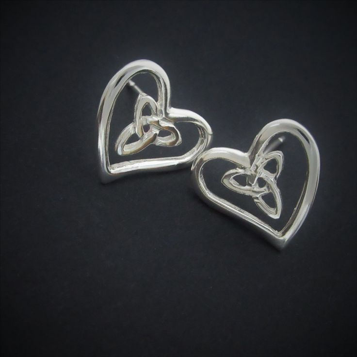 Trinity knot earrings-Heart shape sterling silver studs - unique design handcrafted in Ireland - Free worldwide shipping by celticicejewellery on Etsy