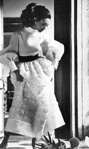 Marisa in a white organdy dress by Valentino, photo by Henry Clarke, Vogue 1968