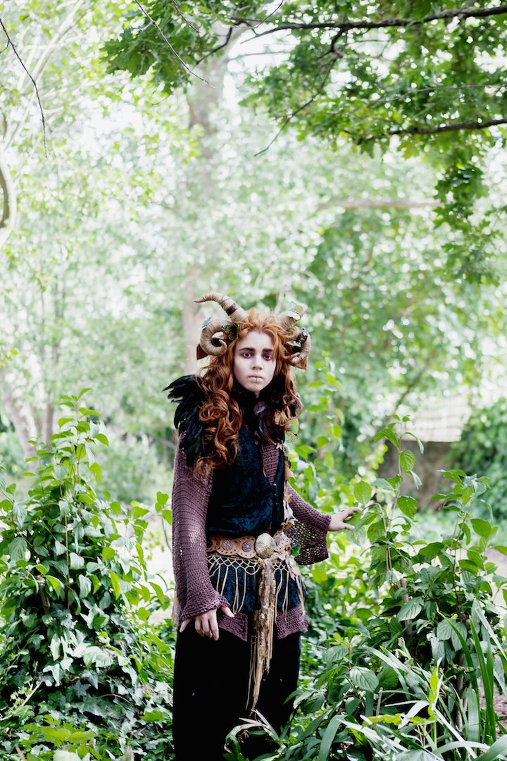 Forest Elf, Photography by Mariell Amèlie. Costume by Ravn Cotino. Fairy / Faerie Shoot. Horns Headpiece.