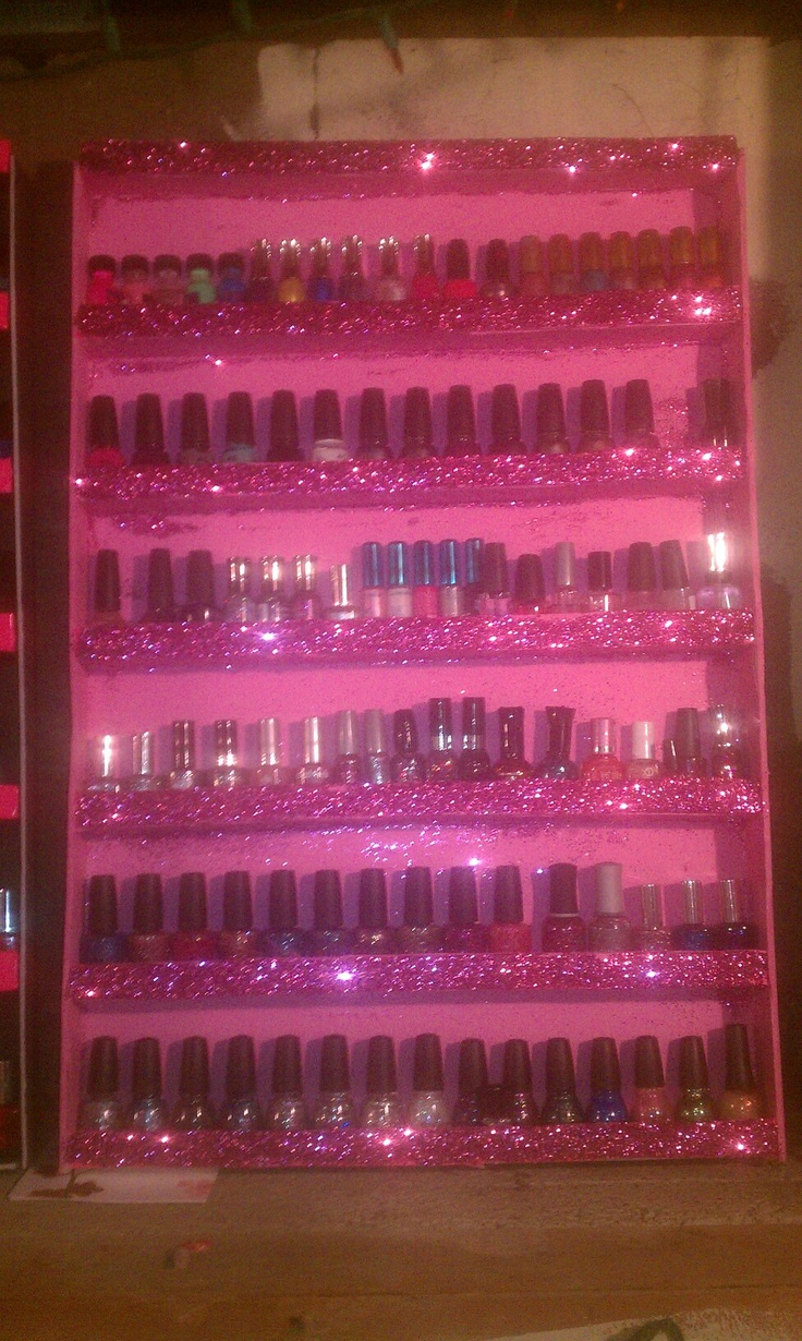 DIY nail polish rack.. made from foam boards from dollars tree