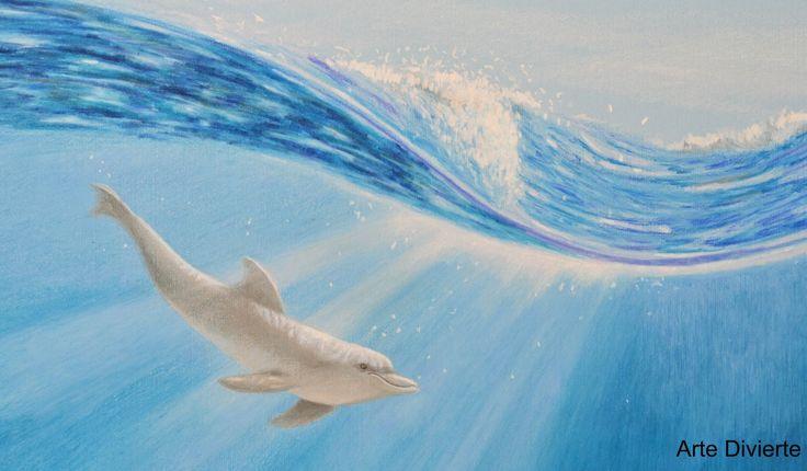 Cómo dibujar un delfín bajo el agua con lápices de colores- Arte Divierte. - YouTube